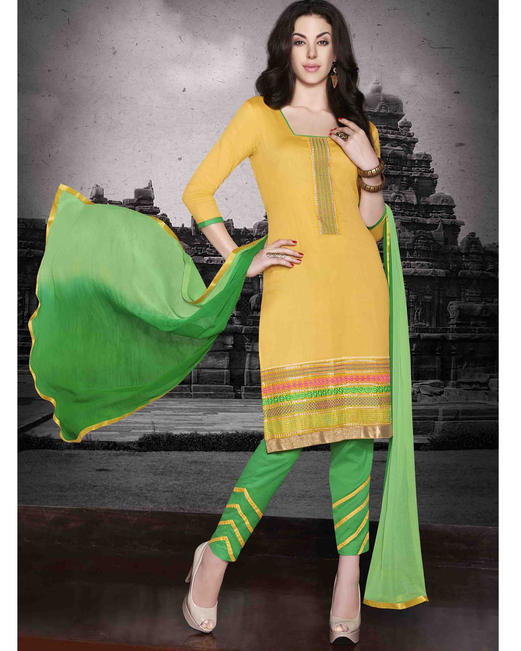 a29d0c88a8 Yellow gorgeous Embroidered Cotton Salwar Kameez (Unstitch) Fabric: Cotton  Work: Embroidered Type: Salwar Kameez (Unstitch) Color: Yellow Fabric Top  Cotton ...