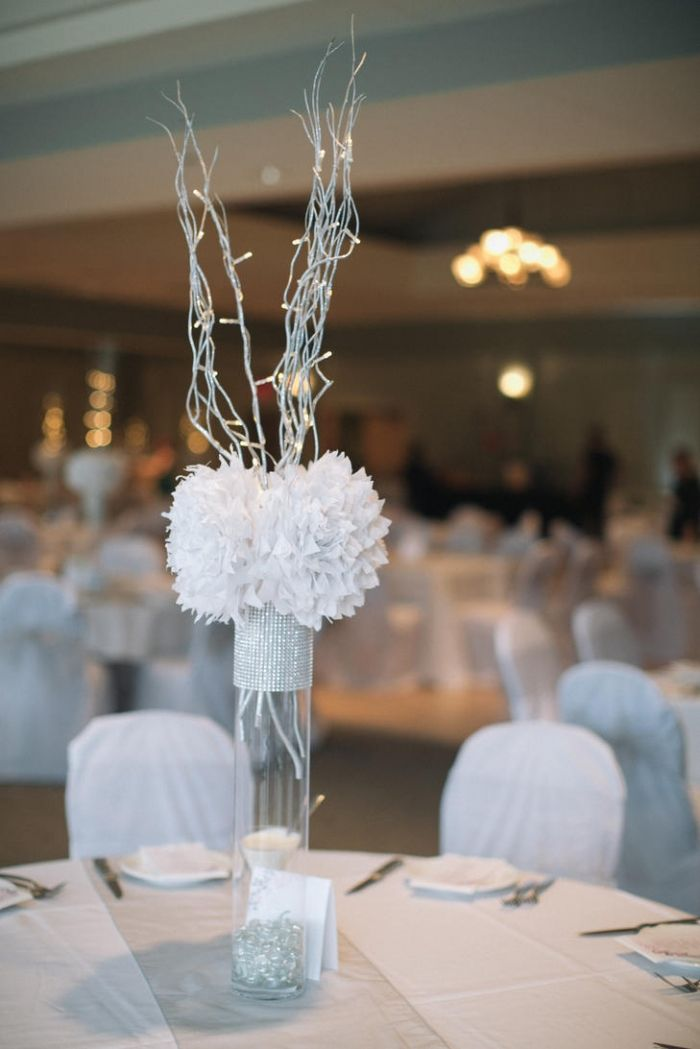 Glam Silver Centerpiece With Fabric Flowers - Tall - Trending Photos