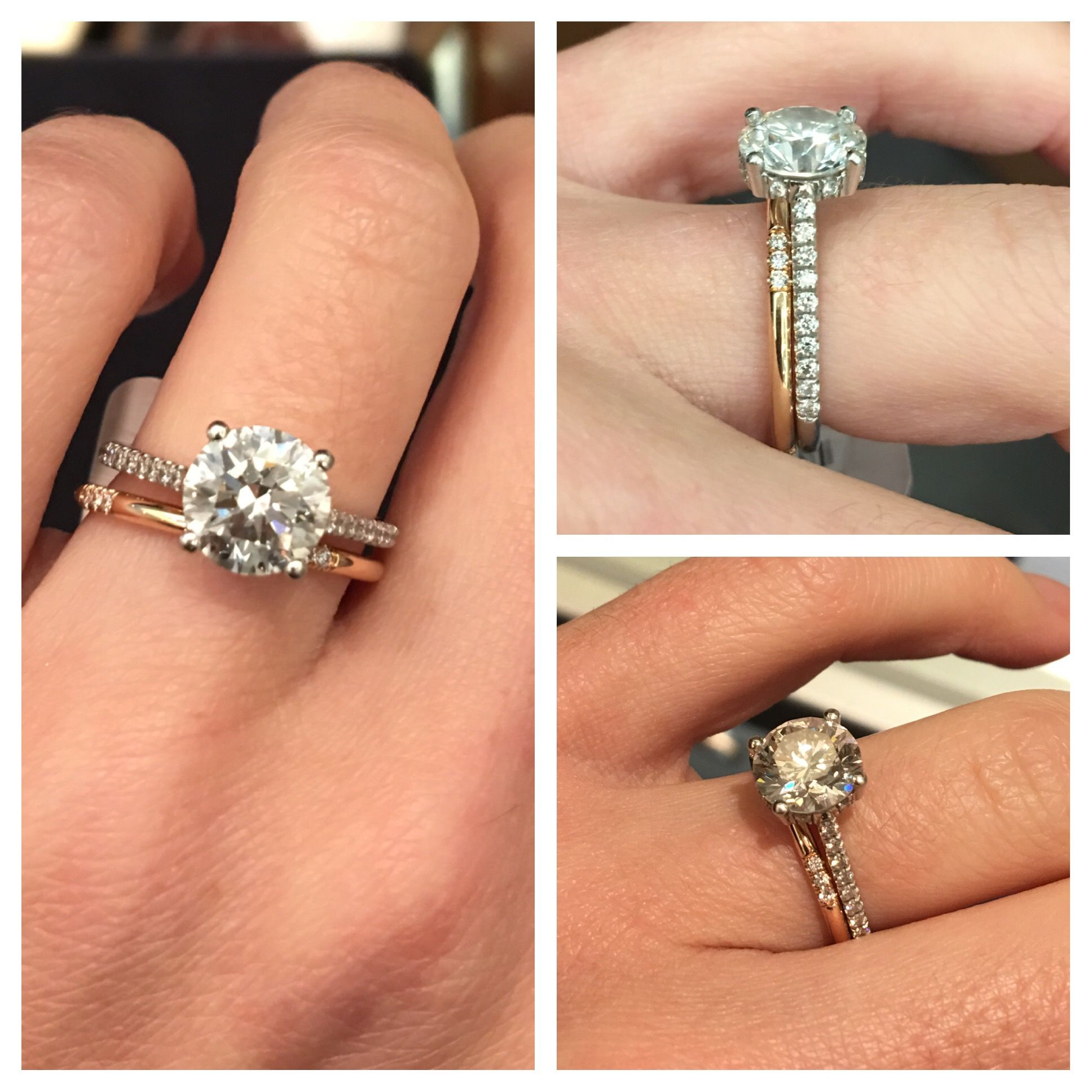 Delicate Rose Gold Wedding Band And Platinum Engagement Ring Rings Engagement Wedding Rings