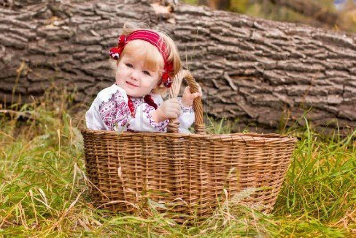 Beautiful girl in ukrainian costume in a basket outdoor Stock Photo