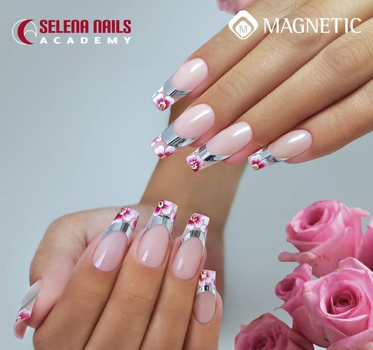 Acrylic nails with Smile Line stickers & hand painted Nail Art ...