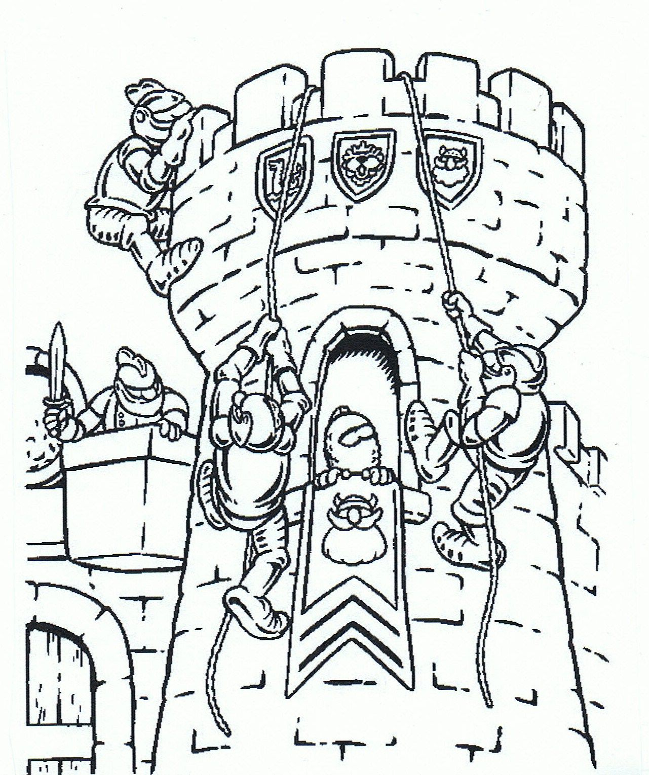Knights Fight For The Castle Coloring Page