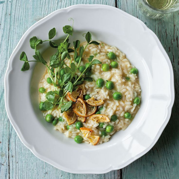 Pea Risotto with Pea Shoots and Roasted Meyer Lemon #risotto #peas #dinner