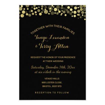 Gold black wedding invite card gold black wedding invite card wedding invitations diy cyo special idea personalize card stopboris Gallery