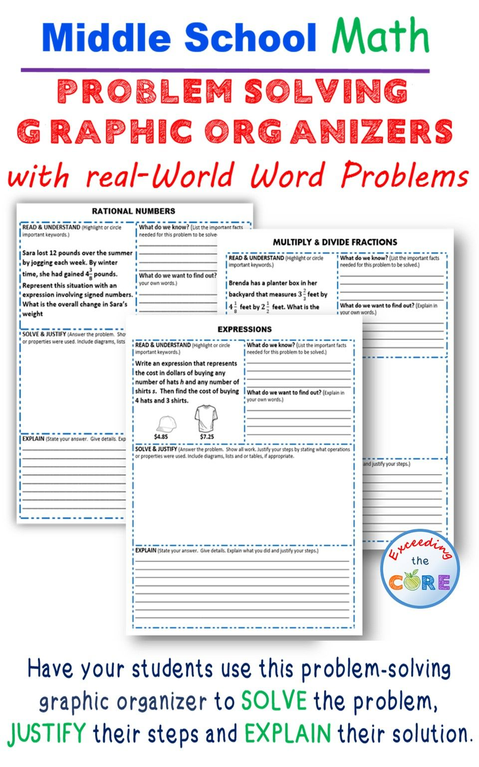 problem solving with graphic organizers | secondary math resources