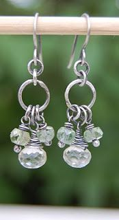 earrings with quartz crystal, prehnite and sterling silver