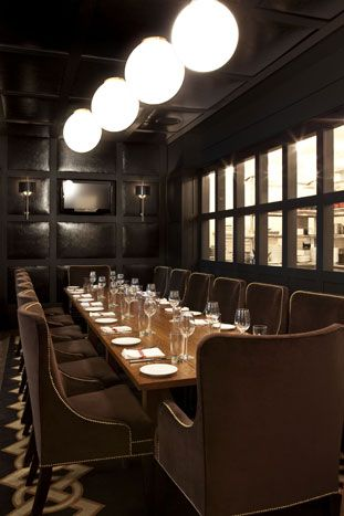 Againn S 14 Seat Private Dining Room Has Leather Paneled Walls And A Glass Enclosed View Of The Kitchen Private Dining Room Private Dining Hotel Interiors