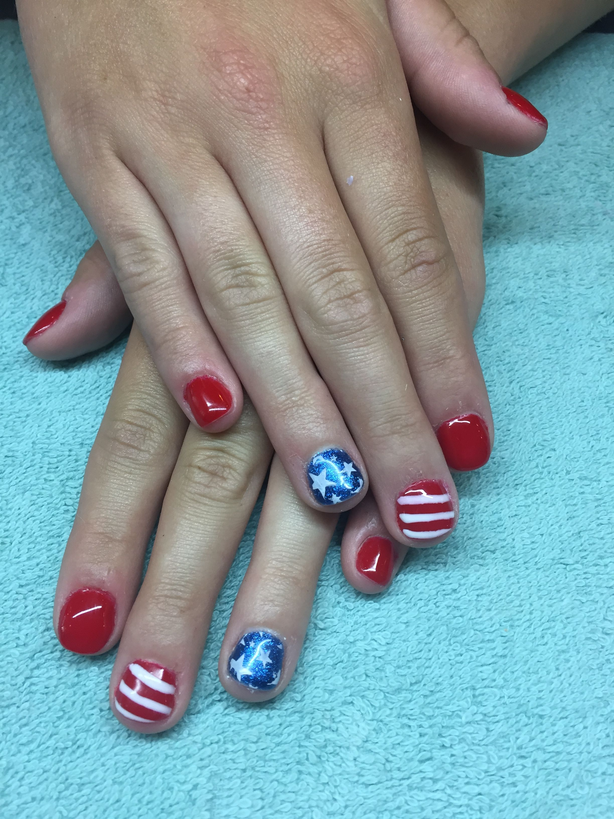 OPI Big Apple Red Polish with Blue shimmer accent nail. Stamp design ...