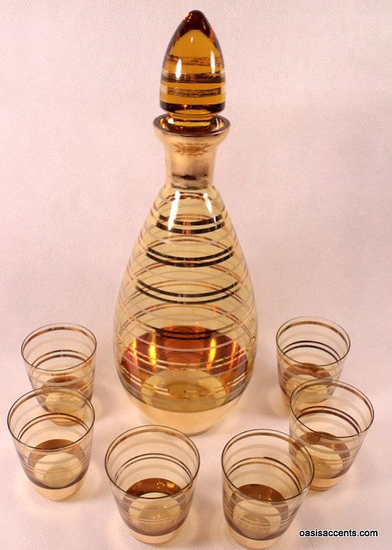 Mad Men Era Decanter Set Czech Bohemia Amber Glass Glass Decanter Set Amber Glass Glass Stopper