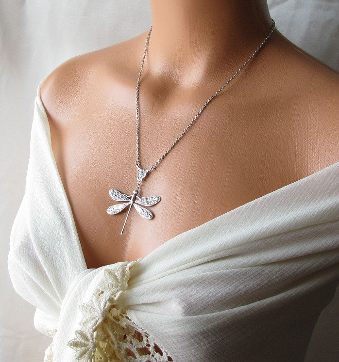 Silver Dragonfly Necklace Bridesmaid Gift Long Necklace