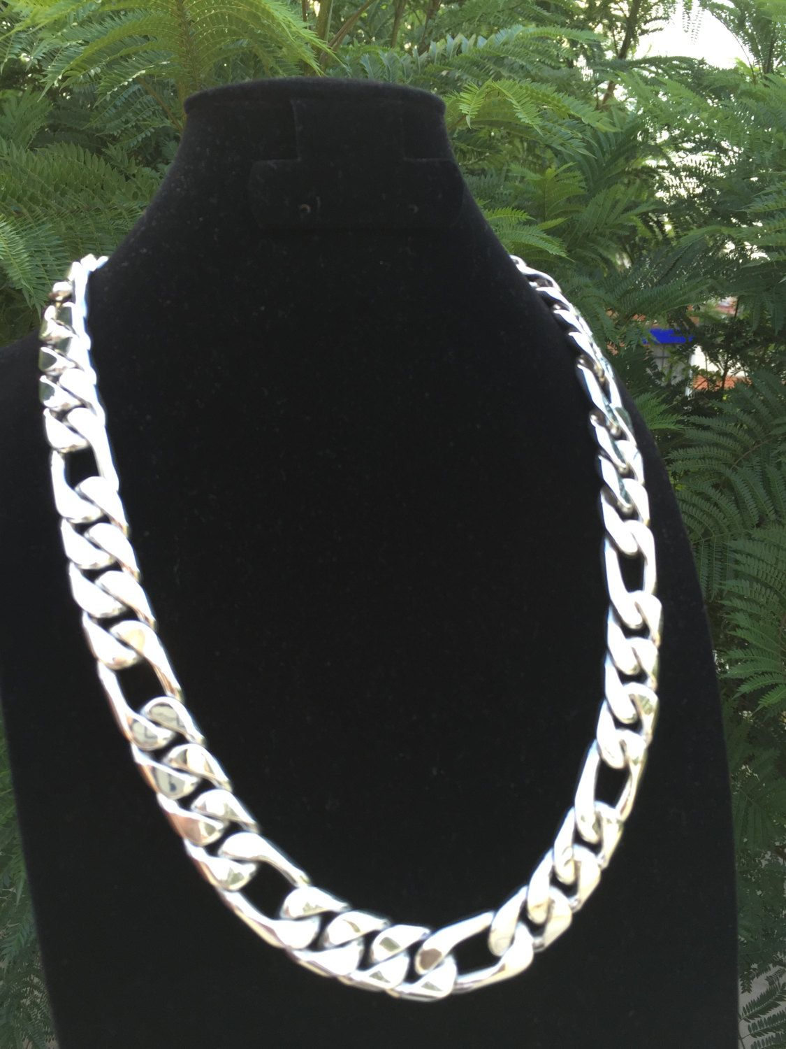 3473bb9b517f Mens .925 Sterling Silver Thick and heavy 3 by 1 chain link Necklace ...