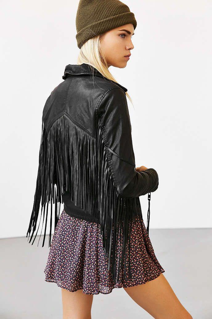 488997c8ee BLANKNYC Vegan Leather Fringe Jacket - Urban Outfitters