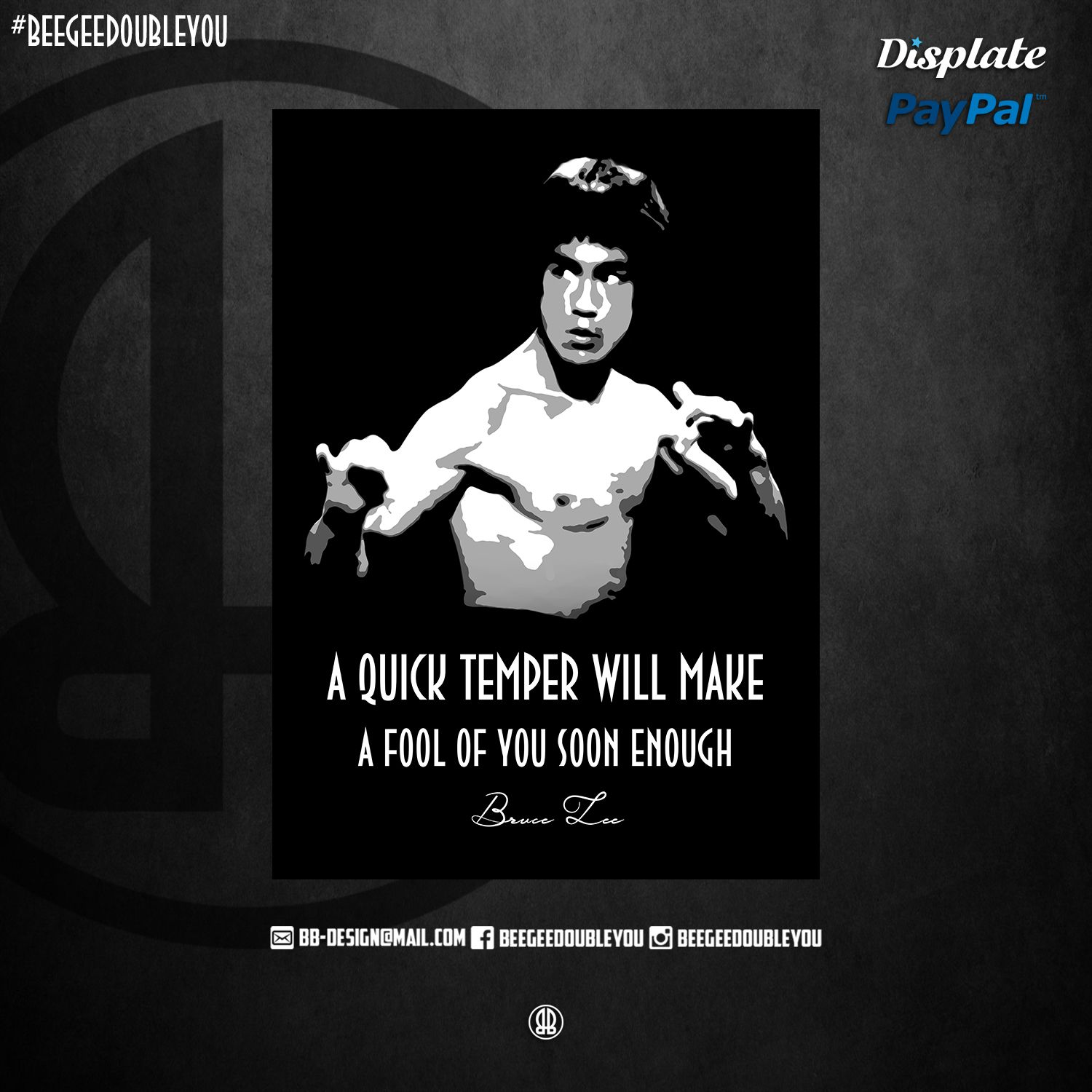 Bruce Lee On Poster Displate Black Popart Pabloescobar Studio Escobar Quotes Malcolmx Martinlutherking Mancave Decorati Metal Posters Poster Quotes