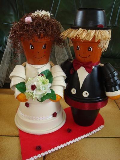 cr ation couple de mari s en bonhomme en pot cr ation personnage en pot de cr adeline n 51 175. Black Bedroom Furniture Sets. Home Design Ideas