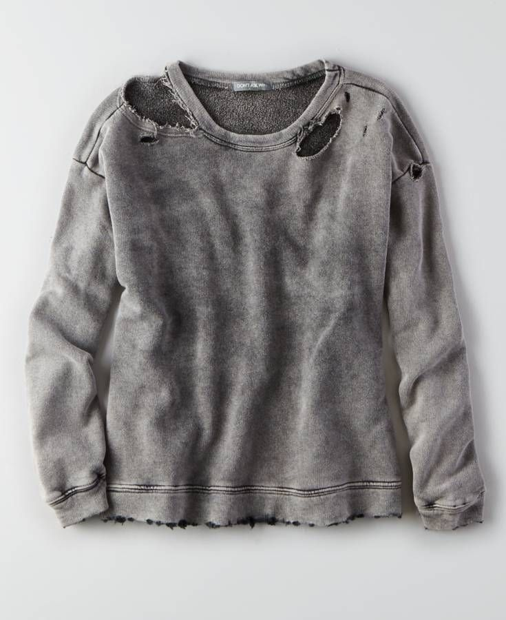 AEO Don t Ask Why Distressed Sweatshirt, Women s, Black    Clothing ... 87f6a34b907