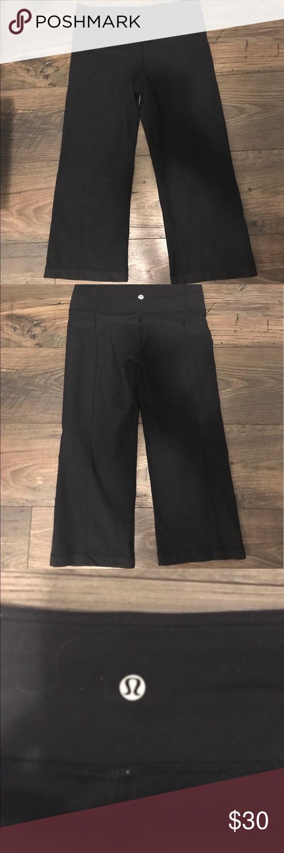 Lululemon Black Cropped Flare Capris Sz 4 Shows signs of light wear, reversible! Open to offers! lululemon athletica Pants Capris