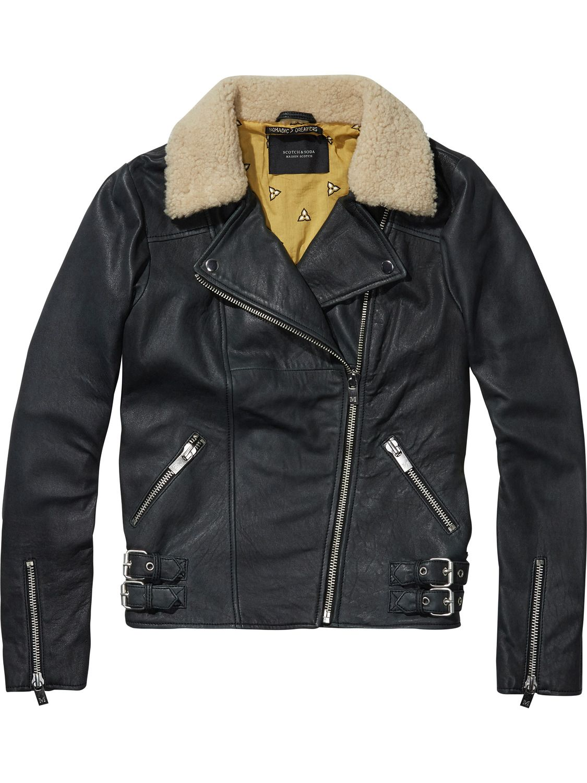 Free People Vegan Aviator Jacket Faux Leather /& Fur Lined Collar Black F631J911