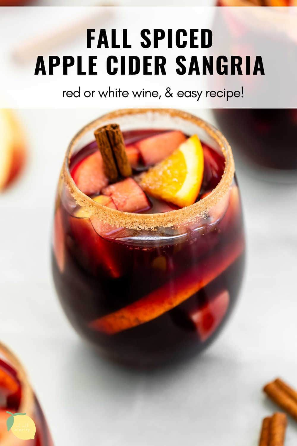 Fall Spiced Apple Cider Sangria Eat With Clarity Cocktails Recipe In 2020 Apple Cider Sangria Fall Sangria Recipes Cider Sangria