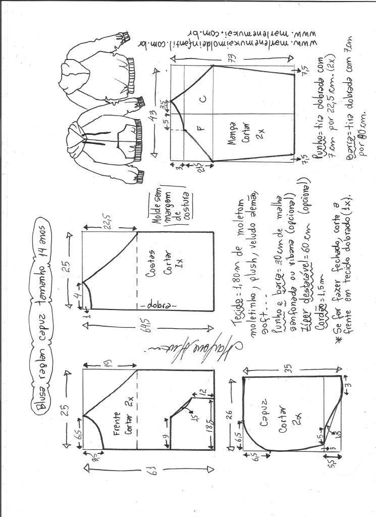 Blusão com capuz e manga raglan - DIY- marlene mukai - molde ...