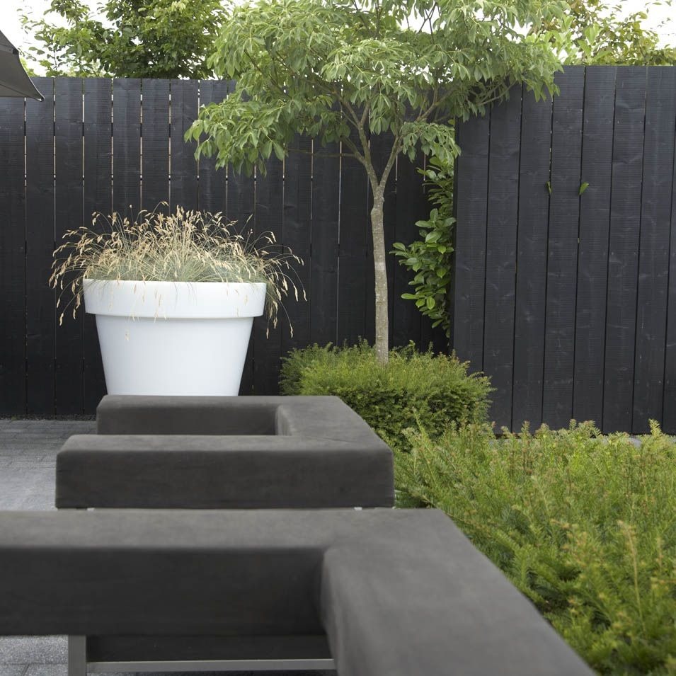 Fab oversized planter and black fencing garden for Garden fence features