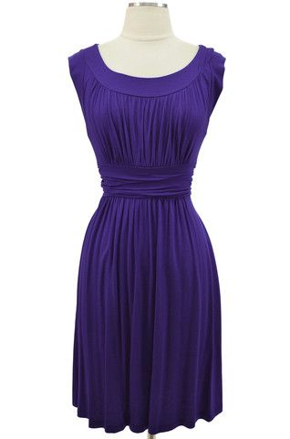 Grecian Domestic Dess Day Dress Royal Purple
