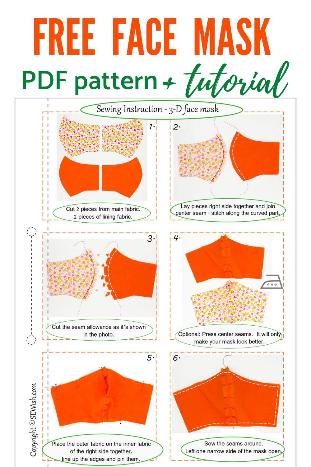 Sewing Pattern For Face Mask Completely Free Sewing Pattern In 2020