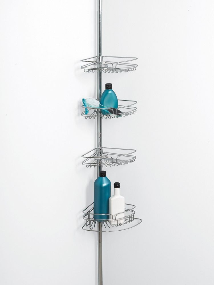 Corner Shower Caddy Tension Pole Metal Chrome Bathroom Organizer ...