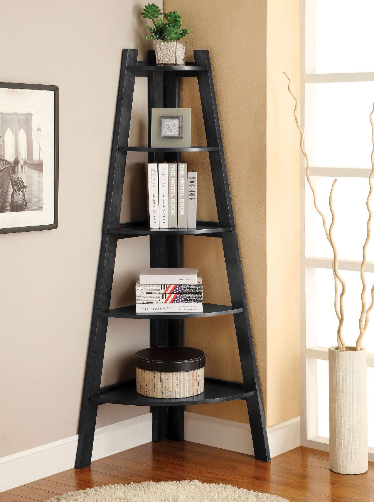 Furniture Of America CM AC6214BK Contemporary Corner 5 Tier Ladder Shelf Bookcase In Black Finish