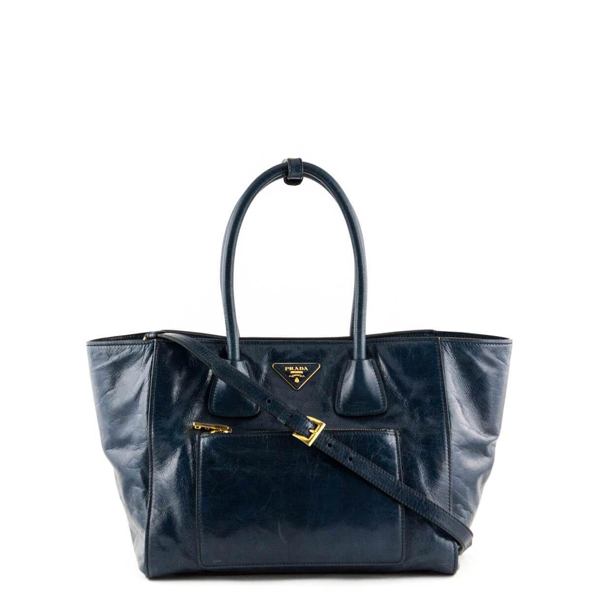 Prada Denim Blue Vitello Shine Phenix Leather Shopping Tote - LOVE that BAG  - Preowned Authentic 339f8a555d76b
