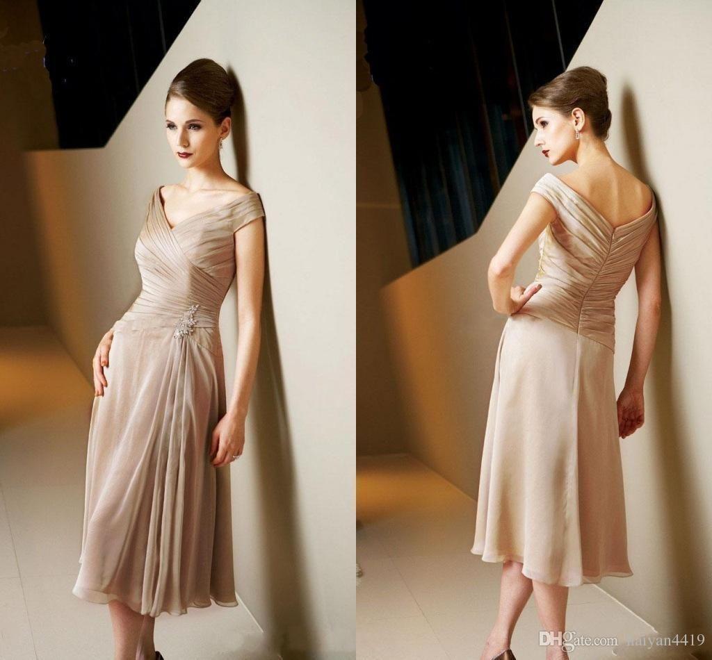 Simple Elegant Tea Length Chiffon Cap Sleeve Wedding: 2017 Simple Cheap Mother Of The Bride Dresses V Neck Cap