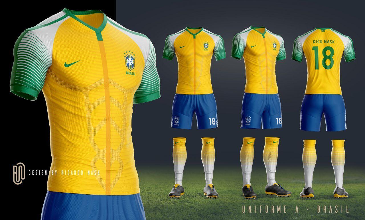 fe99d1fe0f As camisas da Seleção Brasileira deveriam ser mais ousadas  Nosso leitor  Ricardo Nask imaginou como deveriam ser os uniformes do Brasil feitos pela  Nike.