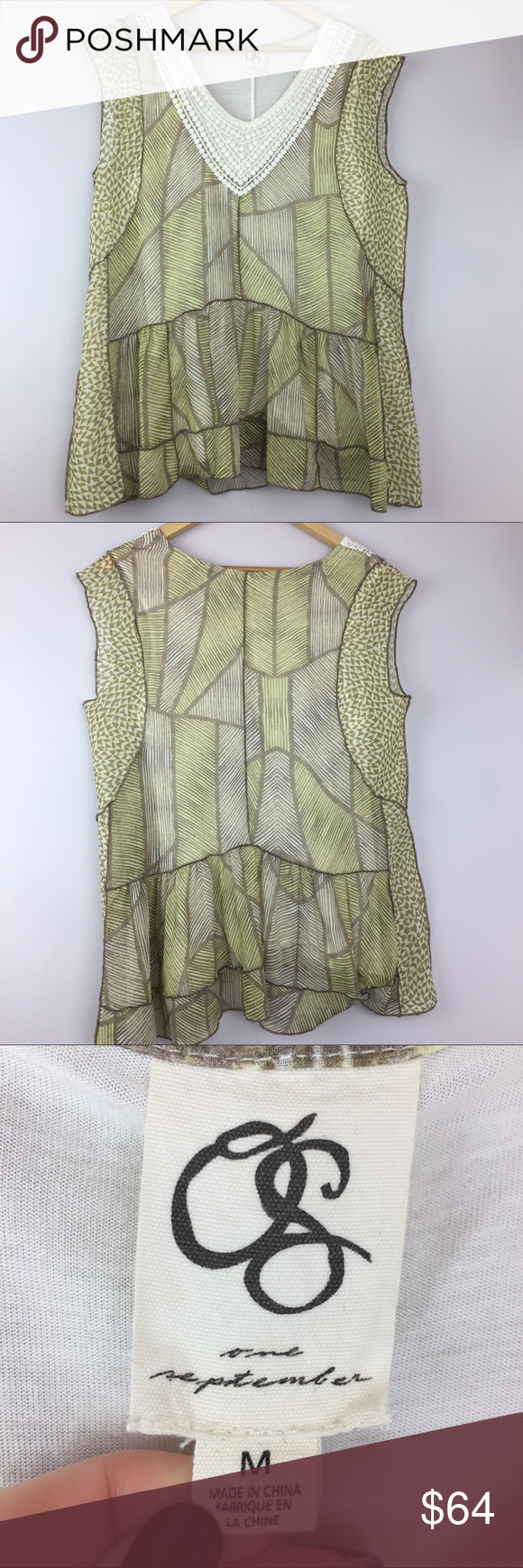 """Anthropologie One September Green Patterned Blouse •Anthropologie One September Sheer Green Sleeveless Blouse Top •Women's Size Medium •In excellent used condition •White crochet neckline •Green patterned sheer material overlaying white tank top •Body: 100% polyester / lining: 100% rayon / trim: 100% cotton •All measurements are approximate: 27"""" length, 20"""" armpit to armpit of outer layer Anthropologie Tops Blouses"""