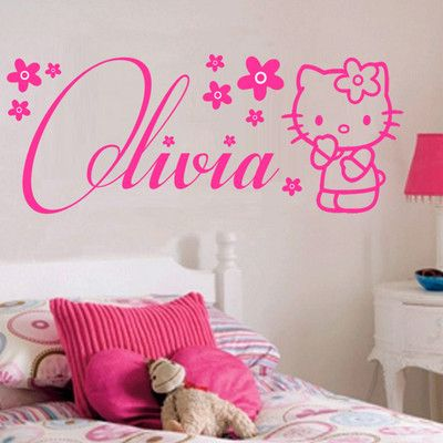 Hello Kitty Personalised Wall Stickers With Hearts Wall Art Murals Home decore