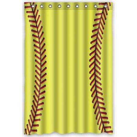 Buy GreenDecor Yellow Softball Waterproof Shower Curtain Set With Hooks Bathroom Accessories Size