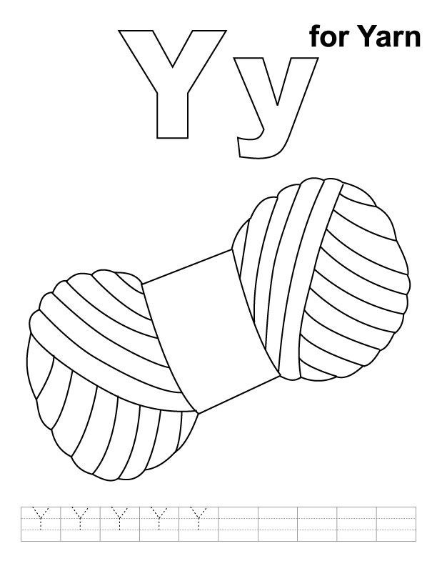 Y for yarn coloring page with handwriting practice # ...