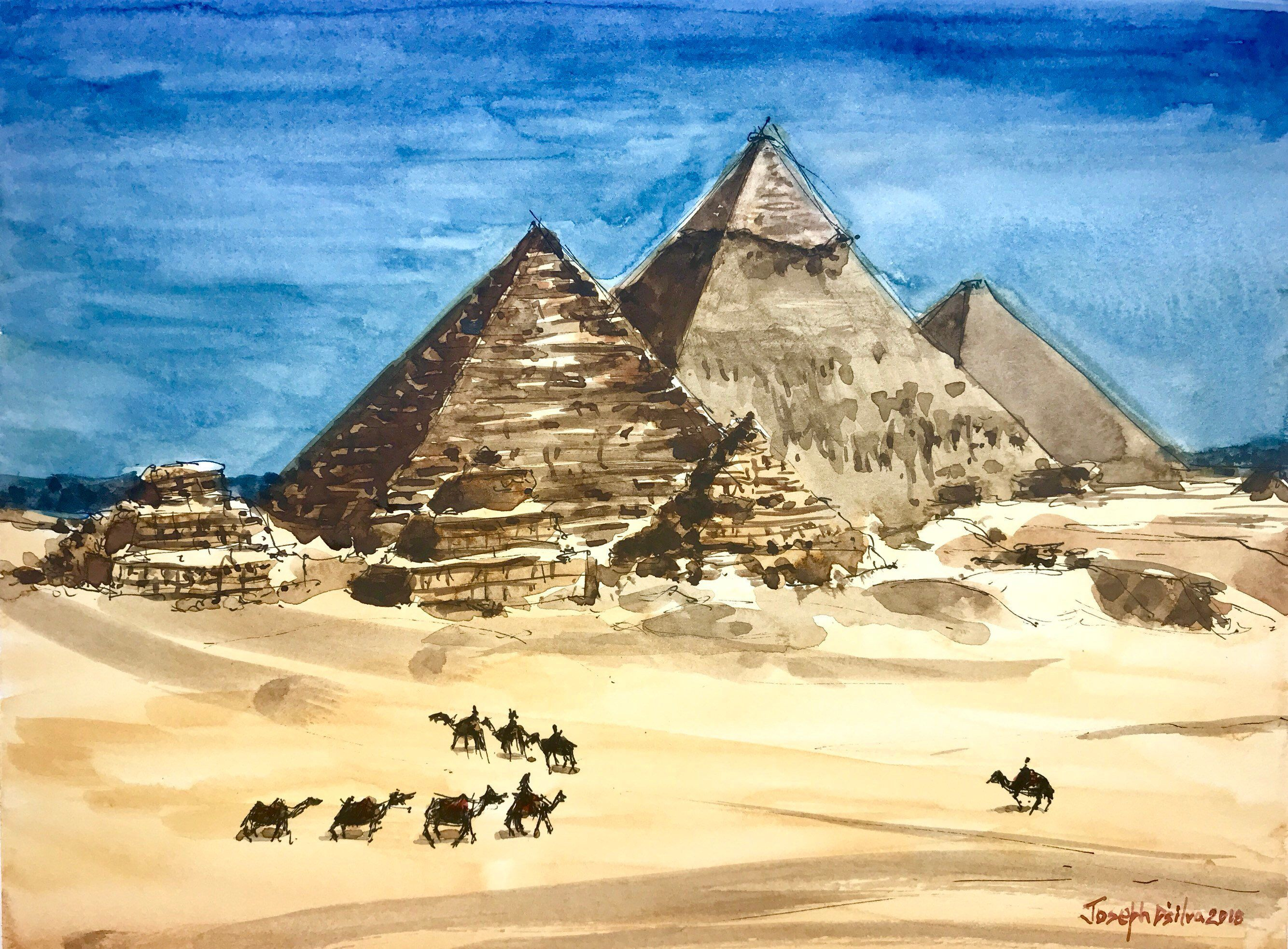 Pyramids Of Giza Egyptian Watercolor Painting Desert Painting