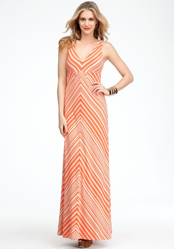 Striped V-Neck Maxi Dress - Hot Coral/Cement - Xl
