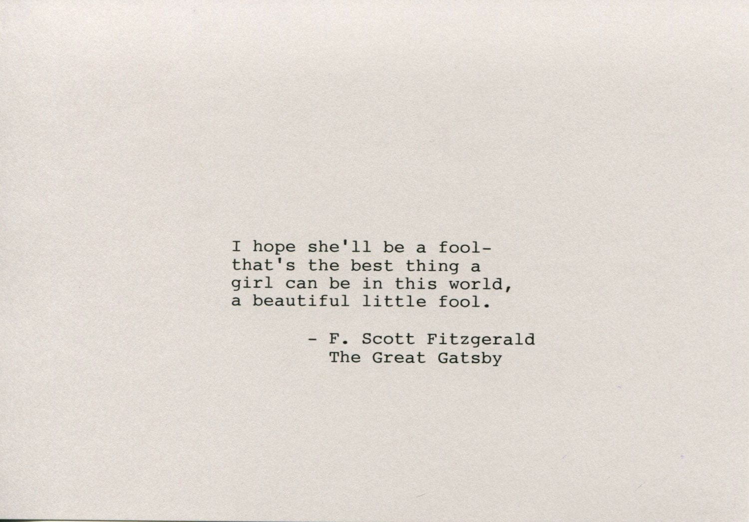 F. Scott Fitzgerald Quote Made on Typewriter Art Quote Wall ...