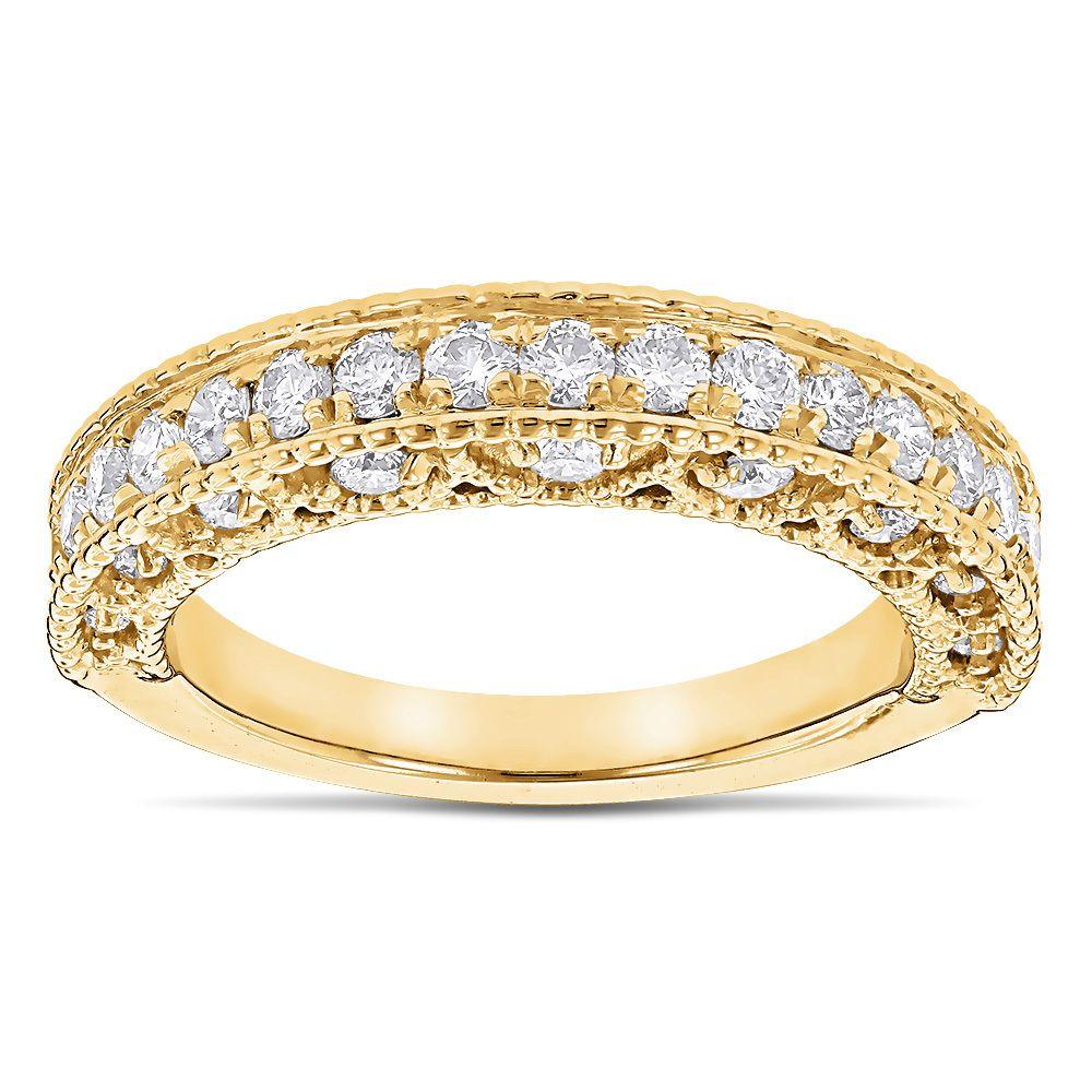 Milgrain Filigree Designer Diamond Wedding Band For Her 1 Carat 14k Gold