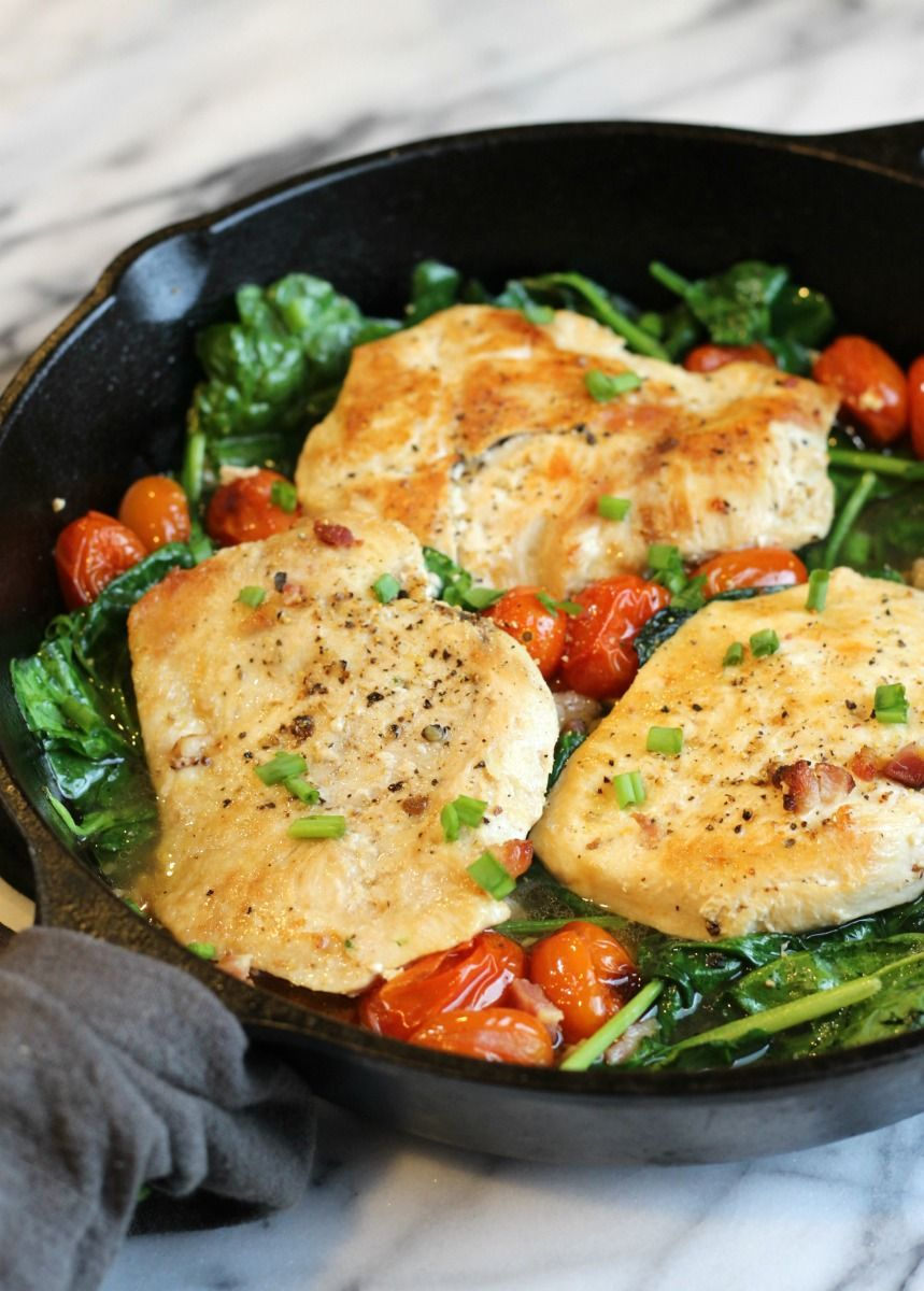 Chicken Spinach Pancetta Paleo Easy Chicken Cook On A Bed Of Garlic And Pancetta With Blis Cook Fresh Spinach Pancetta Recipes Chicken Spinach Tomato Recipe