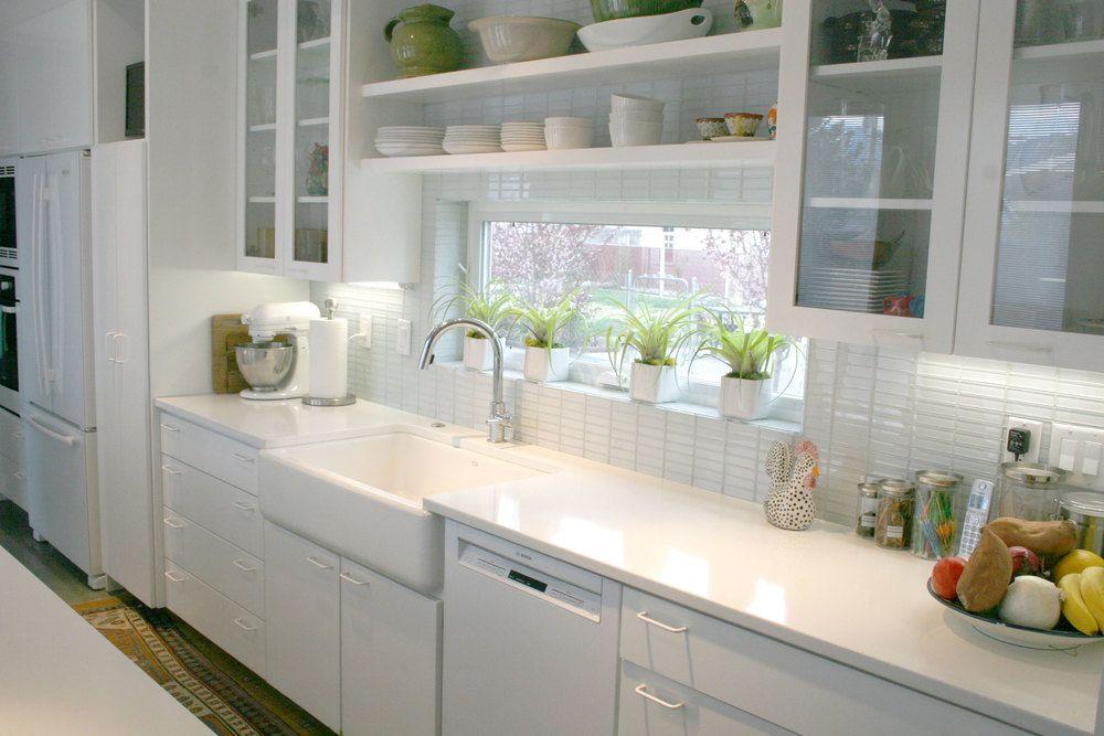 Large white mini 122x422 subway tile kitchen