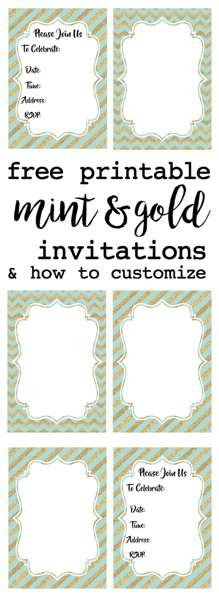 Mint and Gold Party Invitations Free Printable | Gold invitations ...