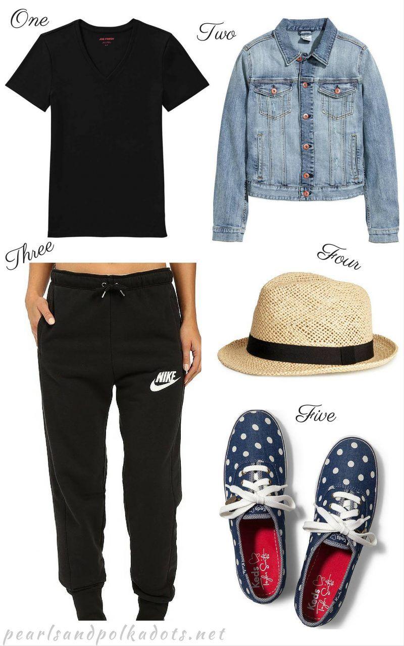 FASHION // Flying away in Style // Black V-neck // Denim Jacket // Black Jogger Pants // Straw Fedora // Keds   On Pearls and Polkadots...
