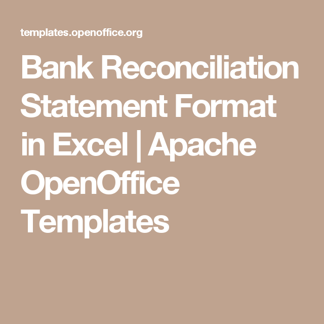 Bank Reconciliation Statement Format In Excel  Apache Openoffice