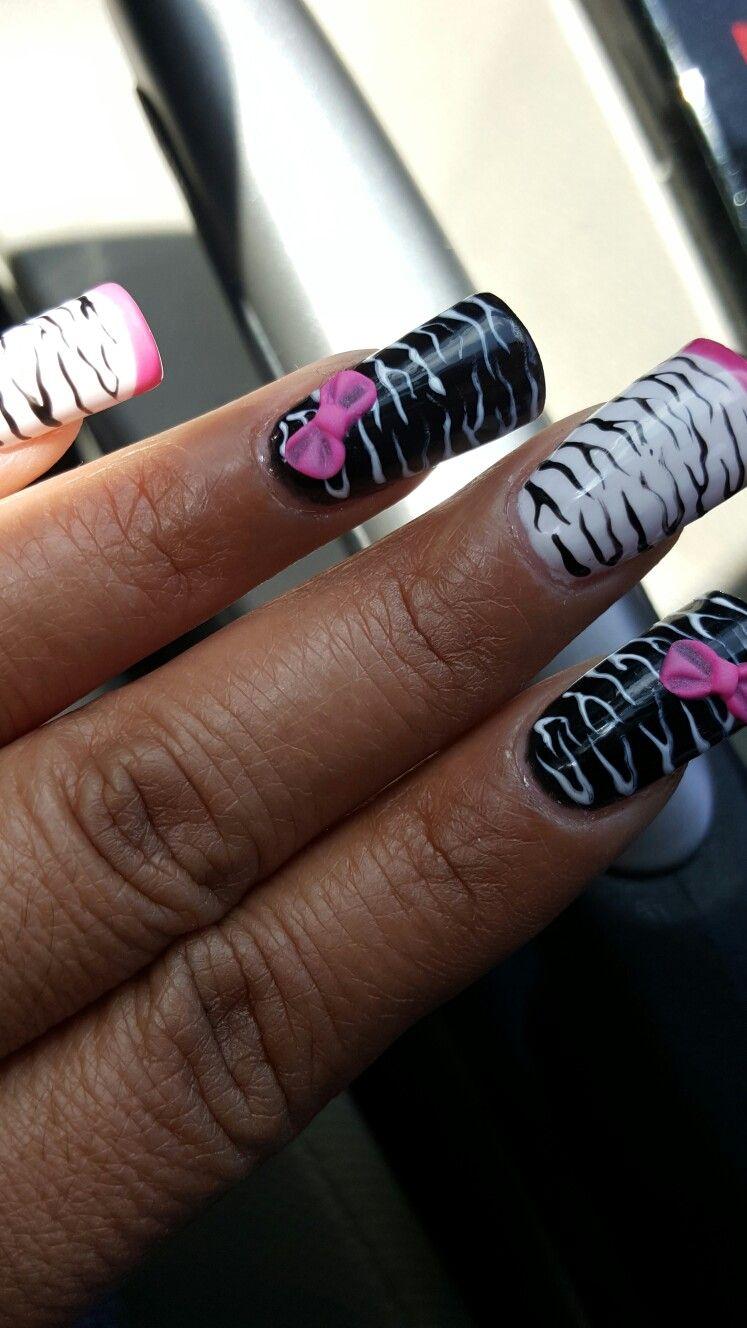 Pink Black White Zebra Print Nails Nail Design Pinterest