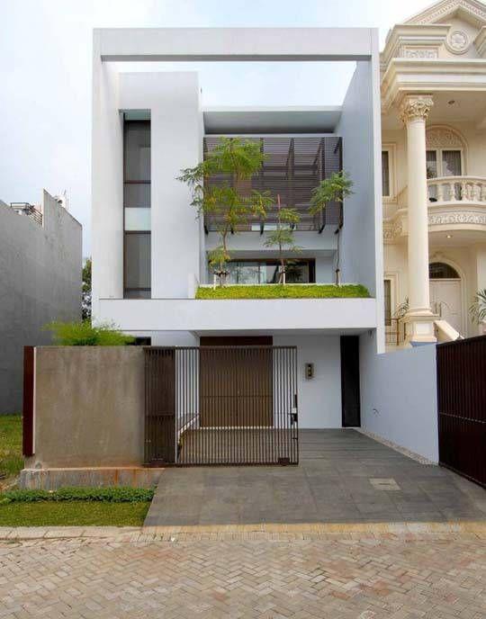 Minimalist house exterior in square design desain rumah for Design minimalista