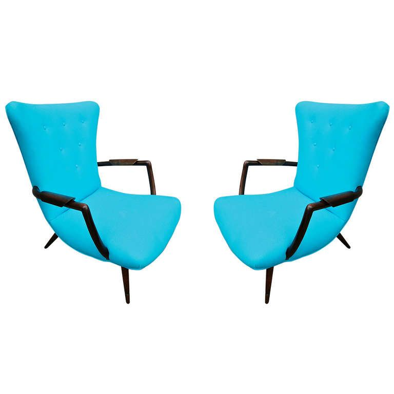 Paulistana armchairs ca.1960's with unique armrests, reupholstered in turquoise twill.