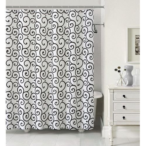Luxury Home Maya 13 Piece Faux Silk Shower Curtain Set Color Ivory Black