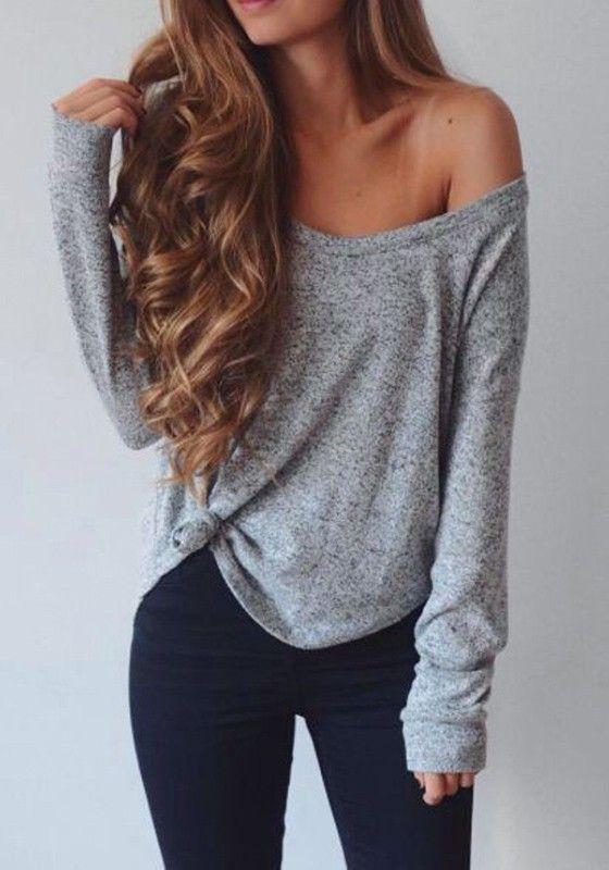 b18d37381764 Grey Plain Round Neck Long Sleeve Casual T-Shirt   Closet: Cichic ...