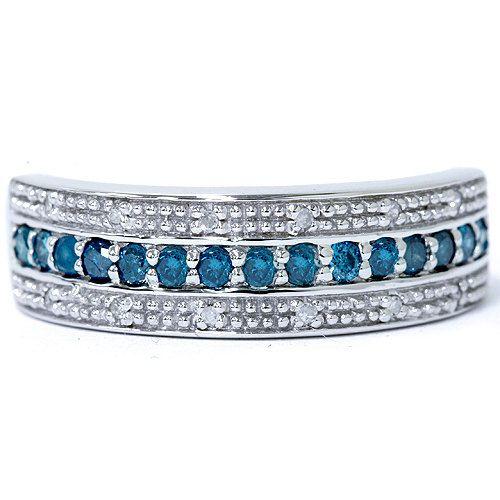 1/2CT Blue & White Diamond Ring 10K White Gold | Pompeii3 - Jewelry on ArtFire